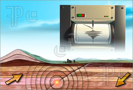 Illustration of Earthquake schematic showing an earth cross-section and a seismograph. Digital illustration.